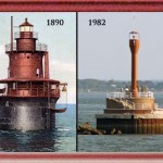 In 1983 Duxbury Pier Light was slated by the Coast Guard to be replaced by a fiberglass tower much like in this image where Deer Island Light in Boston Harbor was replaced by a light on a pole